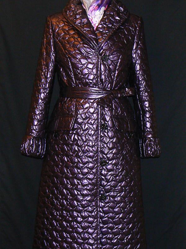 Пальто стеганое фиолетовое от Solnse