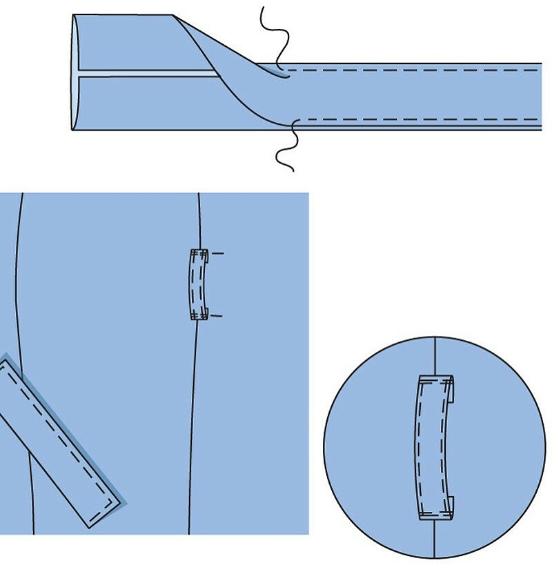 Как обработать завязывающийся пояс, погоны ишлёвки