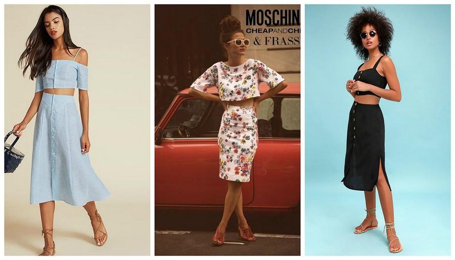 Два водном: выбираем стильный костюм «юбка + топ»