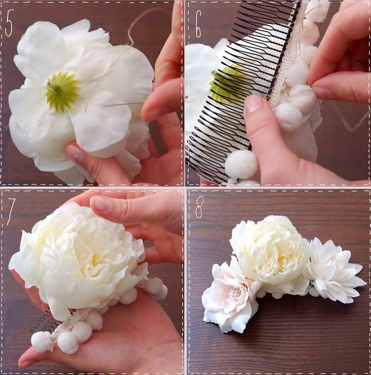 Свадебный гребень дляволос сцветами своими руками
