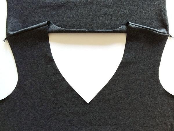 Как обработать V-образный вырез горловины визделии изтрикотажа