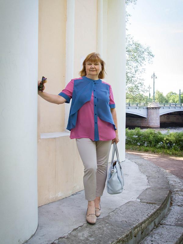 Оригинальная блуза дляполных или еще немного розового)))