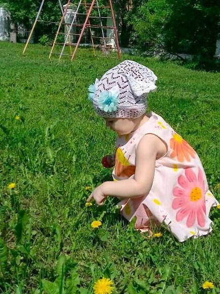 Летняя полянка. Роспись поткани.
