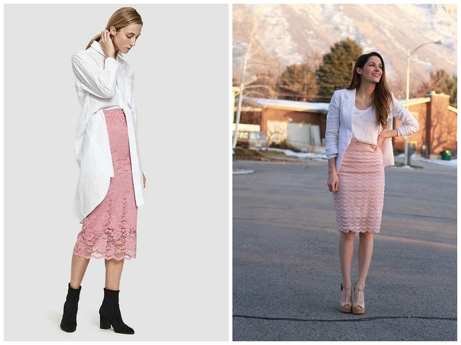 С чем носить кружевную юбку