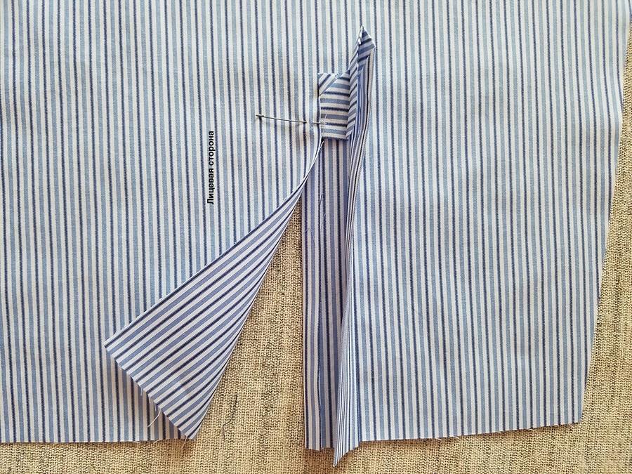 Обработка рукавов вмужской сорочке поитальянской технологии: планка разреза рукава