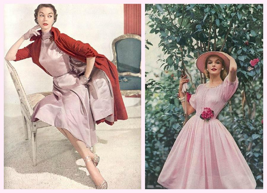 Как носили розовый цвет в50-х?