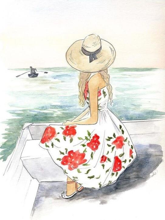 Море. Девушка. Парус.