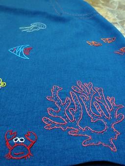 Работа с названием Морские обитатели - ручная вышивка