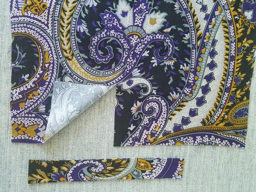 Обработка манжет рукавов платья сконтрастным переходным кантом