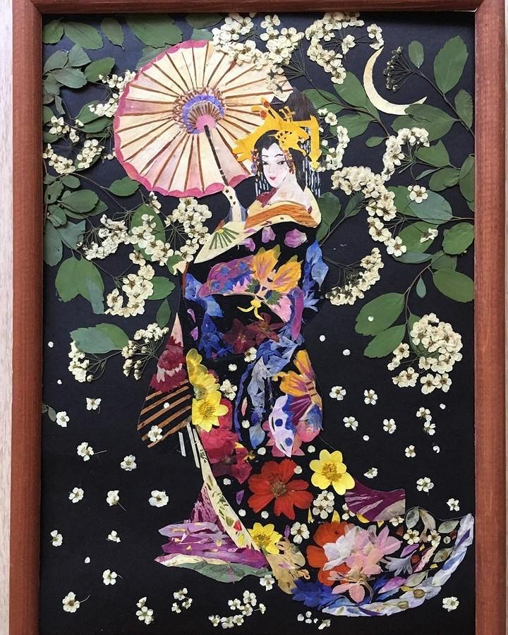 Японская техника ошибана: картины из растений и цветов