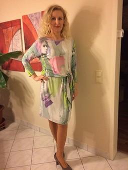 Работа с названием  Трикотажное платье с кушаком