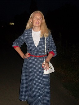 Работа с названием Джинсовое платье в горошек