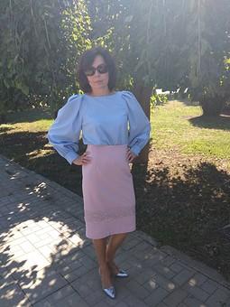 Работа с названием Блузка с фигурными проймами  №116 1/2018, юбка-карандаш №119 2/2018