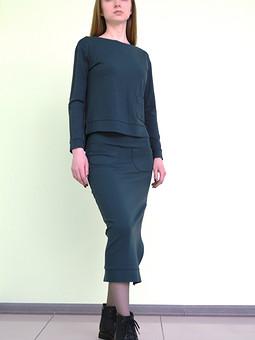Работа с названием трикотажный костюм: свитшот и юбка