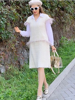 Работа с названием Платье в стиле Шанель с перьями
