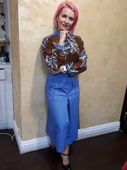 Работа с названием шифоновая блуза с роскошным принтом