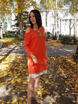 Работа с названием Померанцевое платье