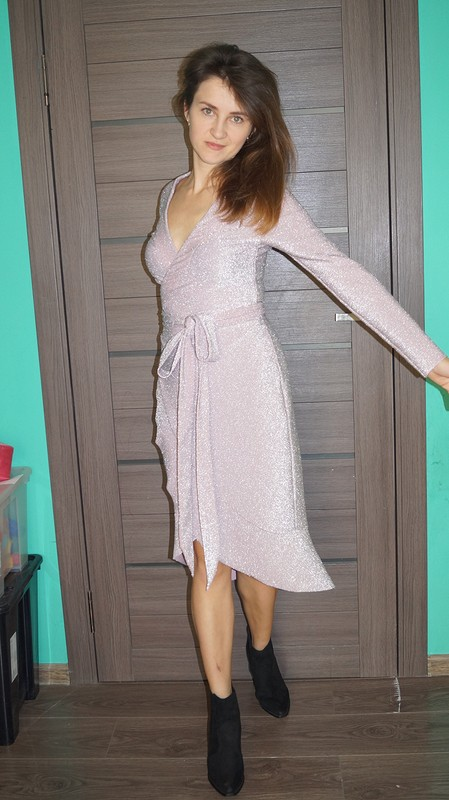 Платье сзапахом изтрикотажа