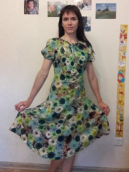 Работа с названием Платье с рукавами-фонариками