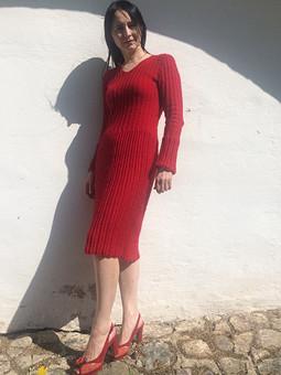 Работа с названием Первое вязаное платье