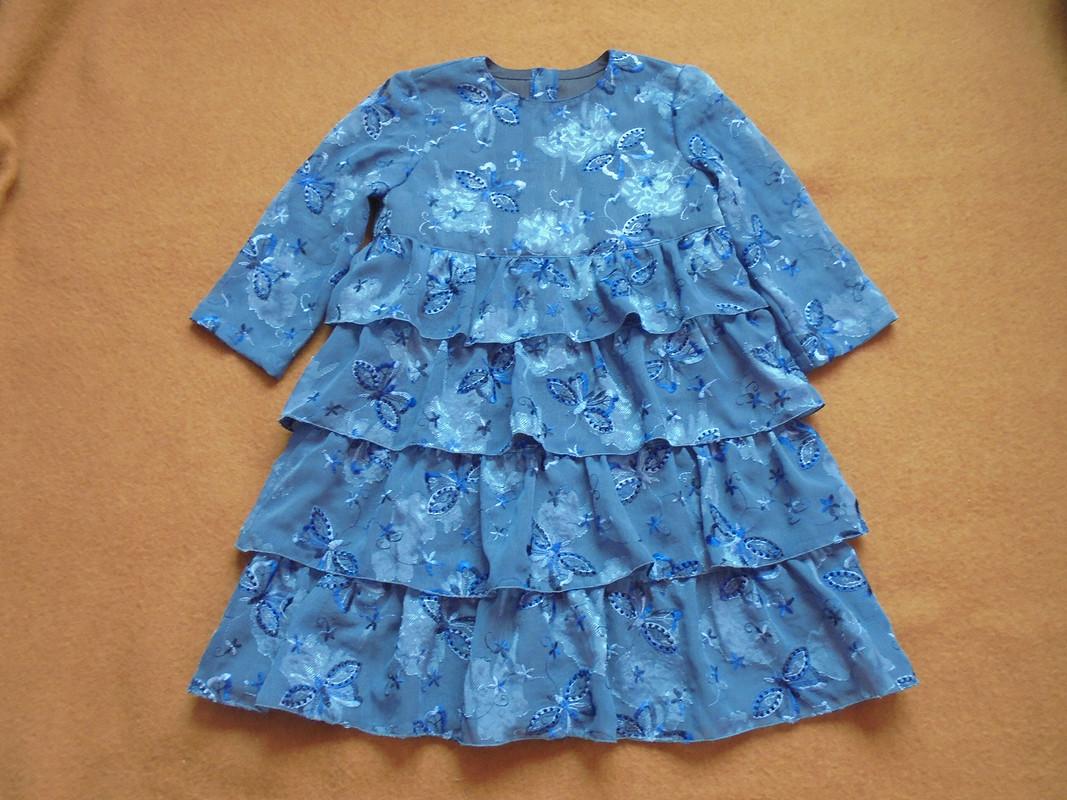 Платье четырёхъярусное сбабочками