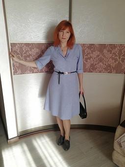Работа с названием Платье цвета сирени