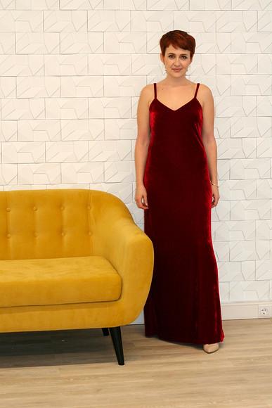 Вечернее платье избархата: шьём повыкройке Burda