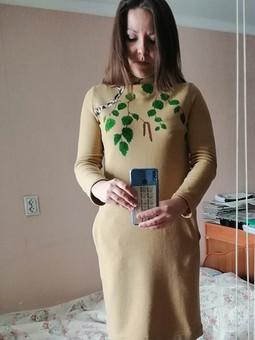 Работа с названием Платье с цельнокроеным воротником
