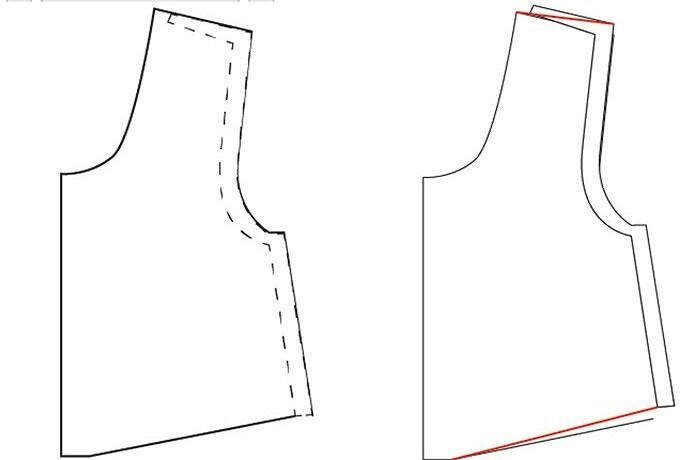 Корректировка выкройки: изменяем линию плеча
