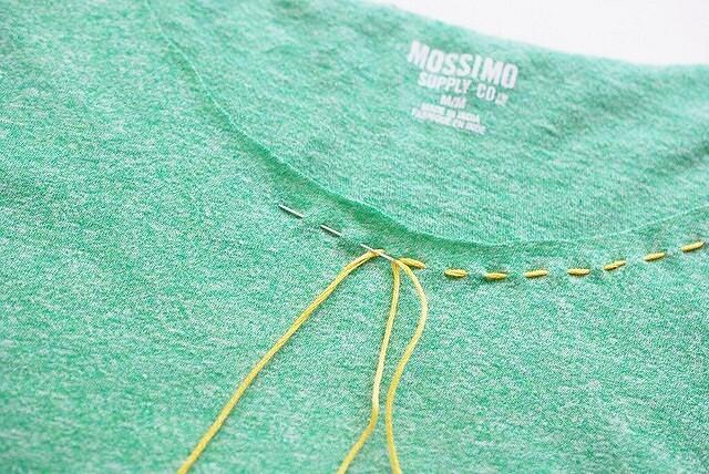 Идея: вышивка нагорловине футболки — декор + обработка