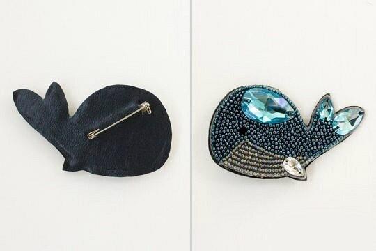 Брошь «Голубой кит» избисера нафетре: мастер-класс