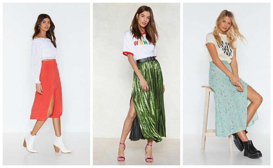 Тренд сезона: юбка миди сразрезом