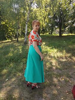 Работа с названием Расклешенная макси-юбка Burda 1/2019