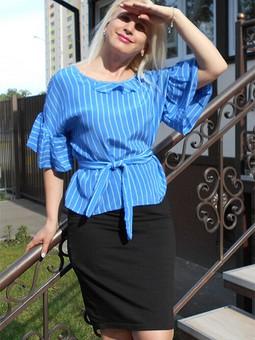 Работа с названием Шелковая блузка свободного кроя по Бурде