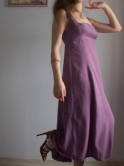 Работа с названием Фиолетовое платье с летящей юбкой