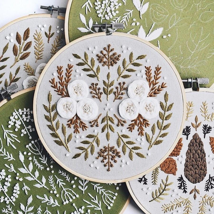 Ботаническая орнаментальная вышивка, похожая награвюры: рукодельный instagram недели