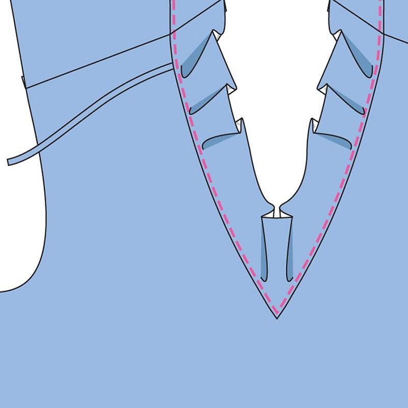 Как выполнить перемычку выреза спинки изделия