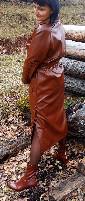 Платье-плащ изэкокожи