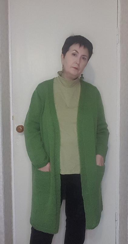 Кардиган зеленый длинный полушерстяной + водолазка