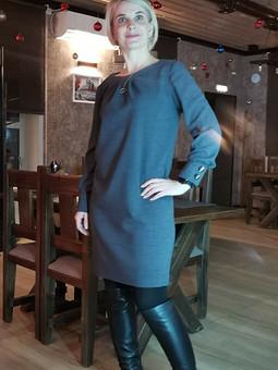 Работа с названием Мини-платье с бантовой складкой