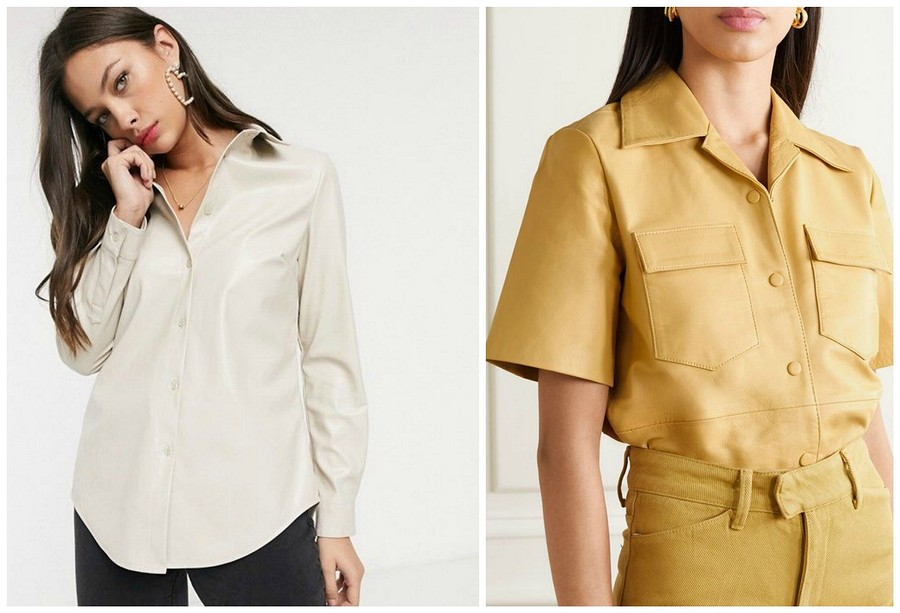 Кожаная блузка: 4 актуальных варианта