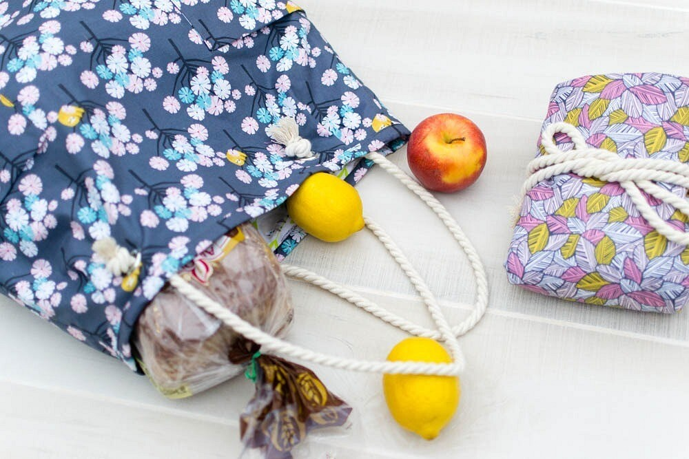 Объёмная сумка сверёвочными ручками: мастер-класс