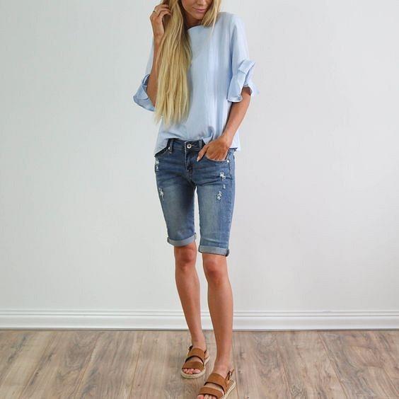 Удлиннённые джинсовые шорты: 9 образов длягорода