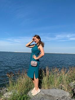 Работа с названием Платье-сарафан цвета бензин