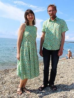 Работа с названием День семьи со Stitcher: платье и рубашка, наш familylook