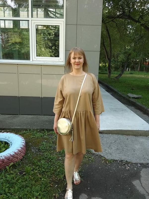 Льняное золотое платье