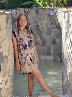 Работа с названием Платье-рубашка с драконами