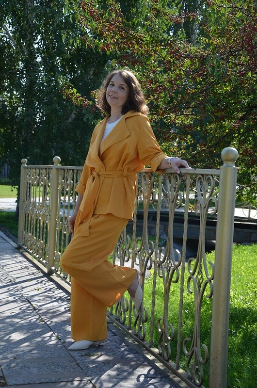 Льняной костюм «Охра» (жакет) от valerida