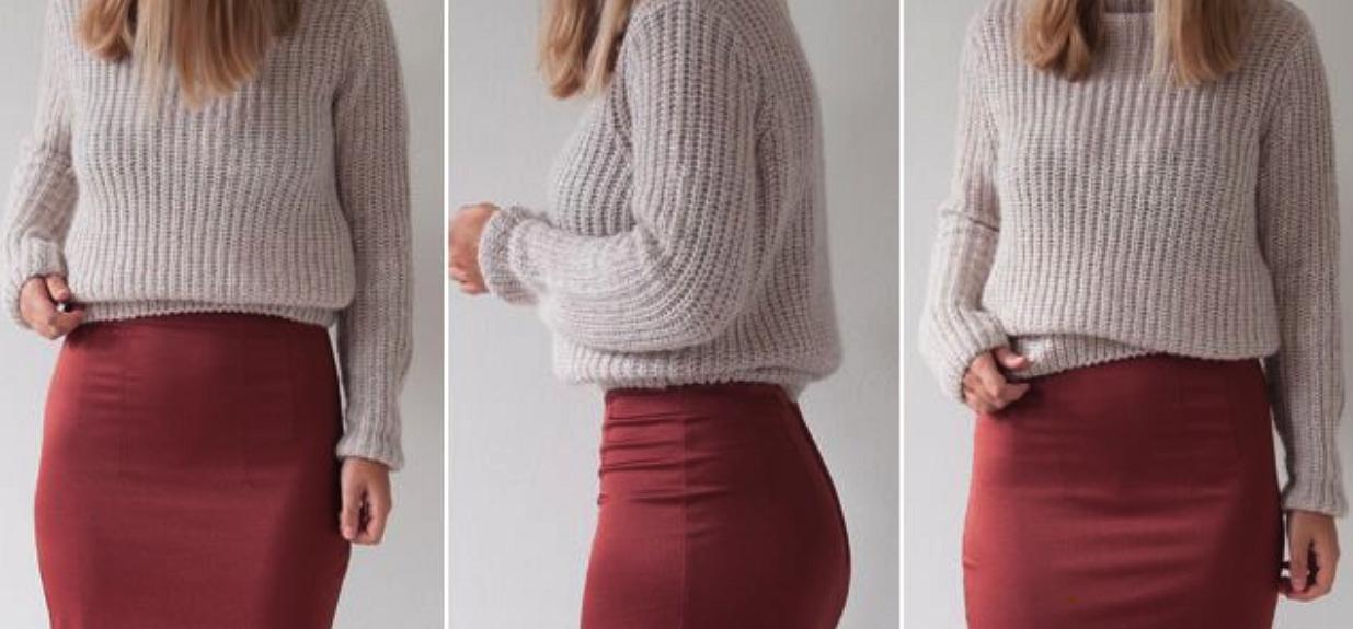 Как заправить объемный свитер вюбку: неожиданный способ отмодного блогера