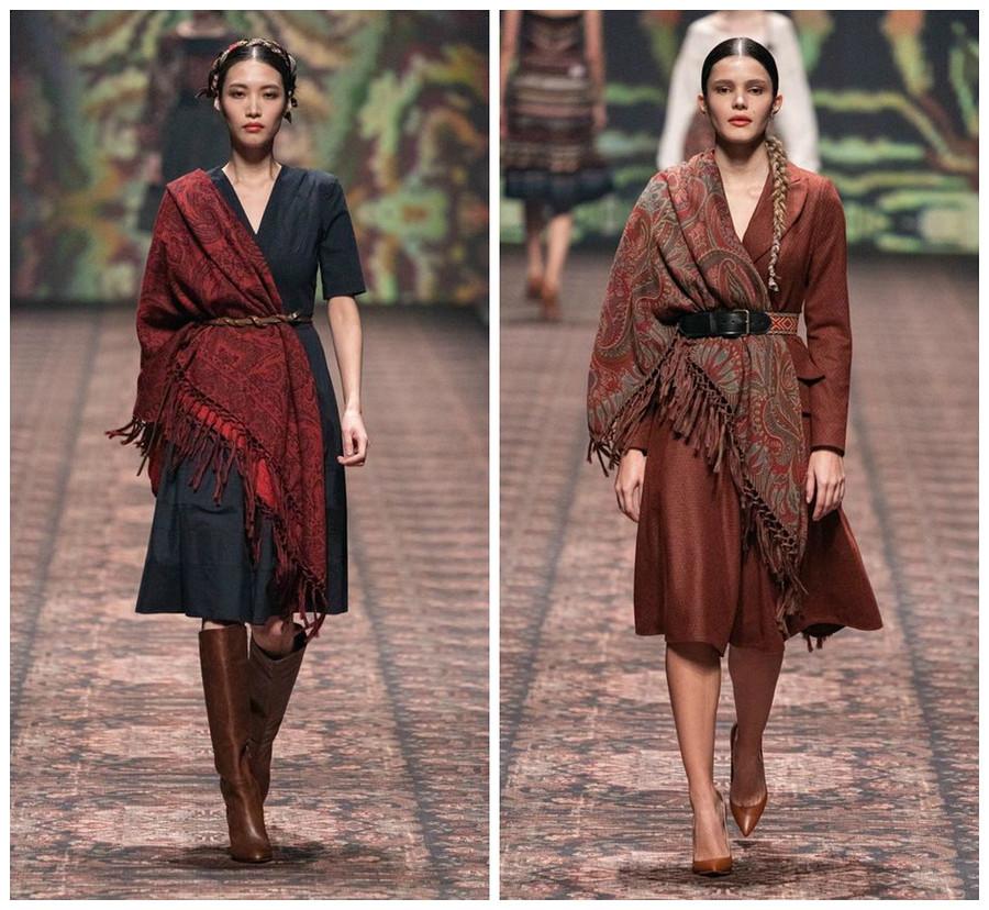 Как носить платки ишарфы этой осенью: примеры сподиума